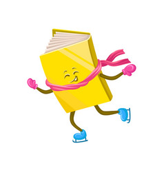 funny humanized book character skating on ice vector image