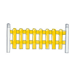 funny sketch fence from flat slats painted in vector image