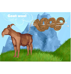 Fur goat with knitting vector