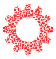 Gear wheel mosaic of six-pointed star icons vector