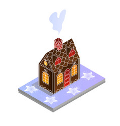 gingerbread house isometric sugar stars christmas vector image