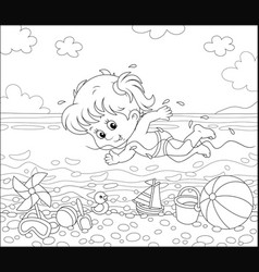 girl swimming in water on a beach vector image