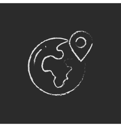 Globe with pointer icon drawn in chalk vector image