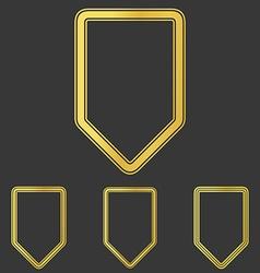Golden line shield logo design set vector