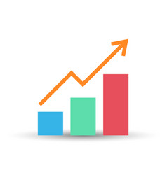 Growing bar graph flat icon vector
