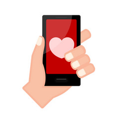 Hand holding a smartphone with a heart shape icon vector