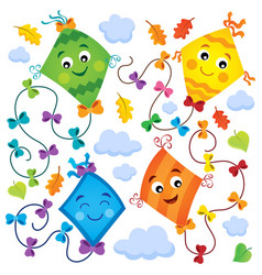 Happy flying kites thematic set 1 vector