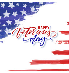 happy veterans day typography card modern black vector image