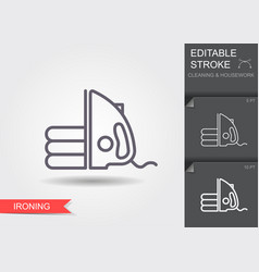 iron line icon with editable stroke with shadow vector image