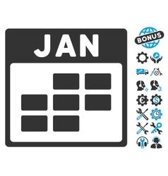 January Calendar Grid Icon With Bonus vector