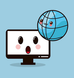 Kawaii computer monitor global vector