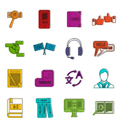 learning foreign languages icons doodle set vector image