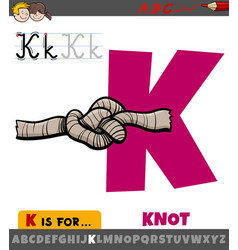 Letter k from alphabet with cartoon knot vector