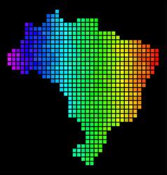 luminous pixelated brazil map vector image