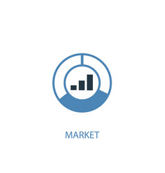 market concept 2 colored icon simple blue element vector image