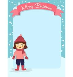 Merry Christmas Girl Banner Greeting Card vector