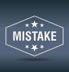Mistake hexagonal white vintage retro style label vector