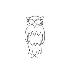 One continuous line drawing cute owl bird for vector
