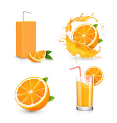 Orange juice isolated icons on white background vector