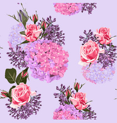 pattern arranged from pink violet and red flowers vector image