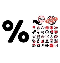 Percent Flat Icon with Bonus vector