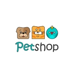 Pet shop logo template outline color dog vector