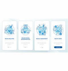 Racism in society onboarding mobile app page vector