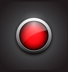 red shiny button with metallic elements button vector image