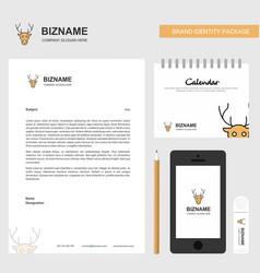 Reindeer business letterhead calendar 2019 and vector
