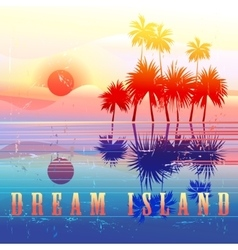 Retro colorful island paradise vector