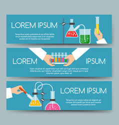 Scientist chemical laboratory banner set vector