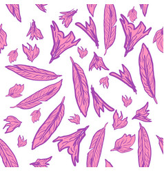 seamless pattern with hand drawn feathers vector image