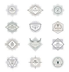 set hipster sunburst line signs and emblems vector image