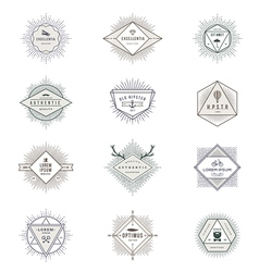 Set of hipster sunburst line signs and emblems vector image