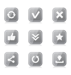 Set rounded square internet icons vector