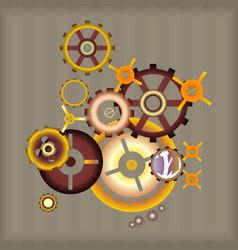 Set steampunk design elements vector