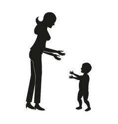 Silhouette mother baby walking vector