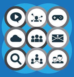 social icons set with game communication group vector image