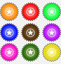 Star Favorite icon sign A set of nine different vector