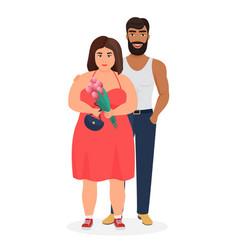 strong dark skin man and curvy fat caucasian woman vector image