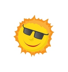 Sun face with sunglasses icon cartoon style vector