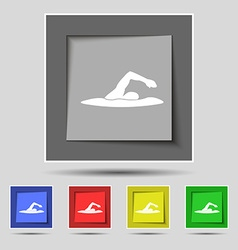 Swimmer icon sign on original five colored buttons vector