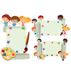 three paper template with happy kids vector image