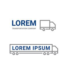 Transportation logo line truck car icon vector