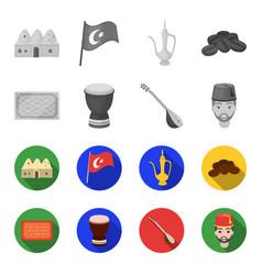 turkish carpet saz drum turkish menturkey set vector image