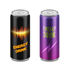 Two aluminum cans of energy drink vector