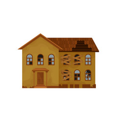 Two-storey house with broken roof and boarded-up vector