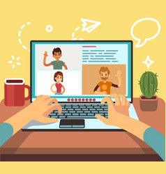 video conference friends call online family vector image