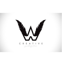 W feather letter logo icon design with feather vector