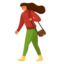 Walking woman with bag on shoulder isolated vector